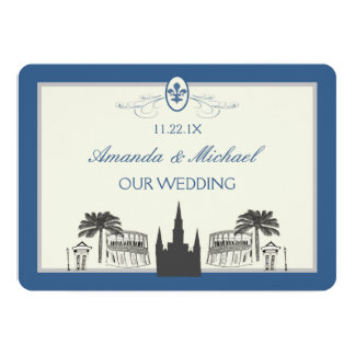 Blue and Silver New Orleans Scenes Save the Date Card