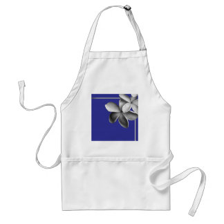 Blue and Silver Plumeria Adult Apron