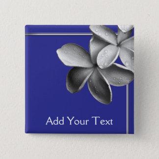 Blue and Silver Plumeria Button