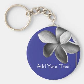 Blue and Silver Plumeria Basic Round Button Keychain