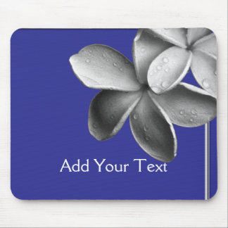 Blue and Silver Plumeria Mouse Pad