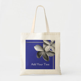 Blue and Silver Plumeria Tote Bag