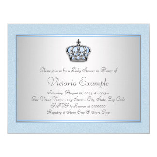 Blue and Silver Prince Baby Shower Card