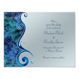 Blue and Silver Reflections Save the Date Card Custom Announcement