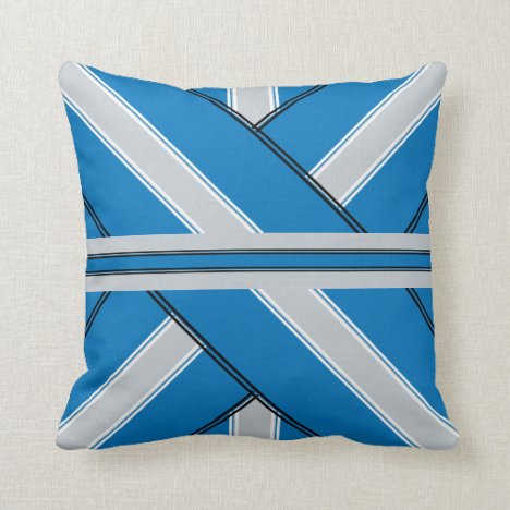 Blue and Silver Ribbon-Design Throw Pillow