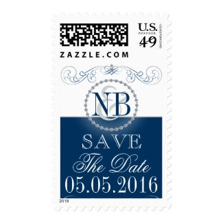 Blue and silver Save The Date wedding stamps