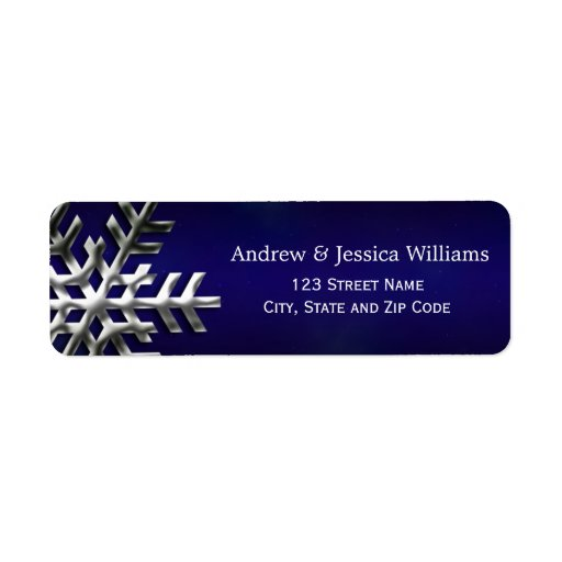 Blue and Silver Snowflake Address Labels