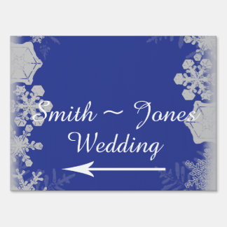 Blue and Silver Snowflake Wedding Direction Sign