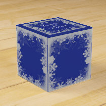 Blue and Silver Snowflake Wedding Favor Box