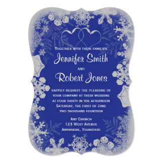 Blue and Silver Snowflake Wedding Invitation