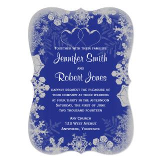Blue and Silver Snowflake Wedding Invitation