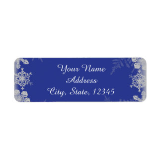 Blue and Silver Snowflake Wedding Label