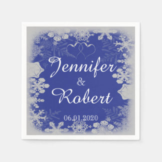 Blue and Silver Snowflake Wedding Napkin