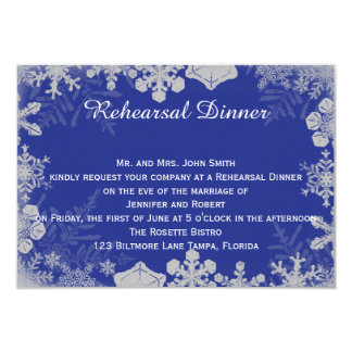 Blue and Silver Snowflake Wedding Rehearsal Card
