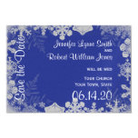 Blue and Silver Snowflake Wedding Save the Date Card