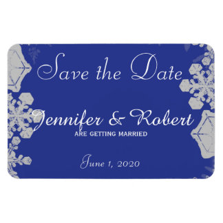 Blue and Silver Snowflake Wedding Save the Date Magnet