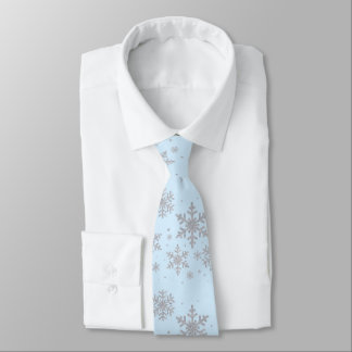 Blue and Silver Snowflakes Winter Wedding Neck Tie