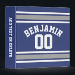 """Blue and Silver Sports Jersey Custom Name Number 3 Ring Binder<br><div class=""""desc"""">Personalize this sporty striped design with your name and favorite number. You can also use this to celebrate a birthday or congratulate your son with personal memento.</div>"""