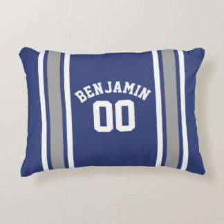 Blue and Silver Sports Jersey Custom Name Number Decorative Pillow