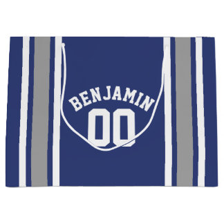 Blue and Silver Sports Jersey Custom Name Number Large Gift Bag