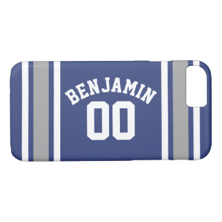 Blue and Silver Sports Jersey Custom Name Number iPhone 8/7 Case