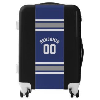 Blue and Silver Sports Jersey Custom Name Number Luggage