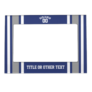 Blue and Silver Sports Jersey Custom Name Number Magnetic Photo Frame