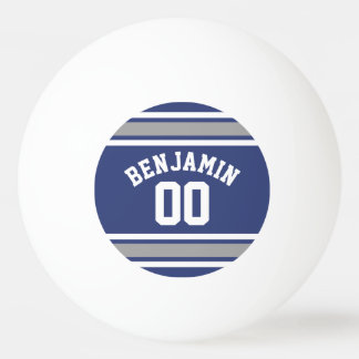 Blue and Silver Sports Jersey Custom Name Number Ping-Pong Ball