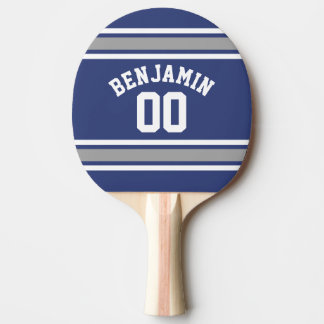 Blue and Silver Sports Jersey Custom Name Number Ping Pong Paddle