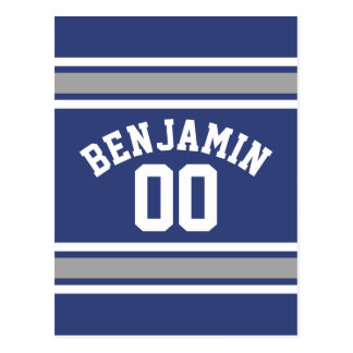 Blue and Silver Sports Jersey Custom Name Number Postcard