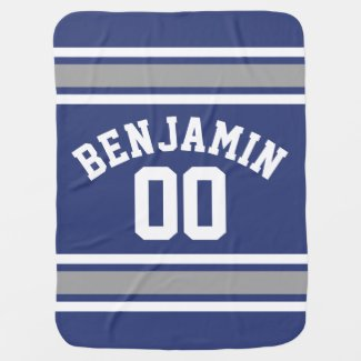 Blue and Silver Sports Jersey Custom Name Number Receiving Blanket