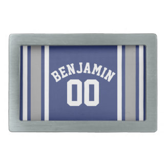 Blue and Silver Sports Jersey Custom Name Number Rectangular Belt Buckle