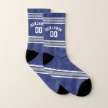 Blue and Silver Sports Jersey Custom Name Number Socks