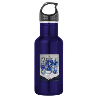 Blue and Silver Stainless Steel Water Bottle