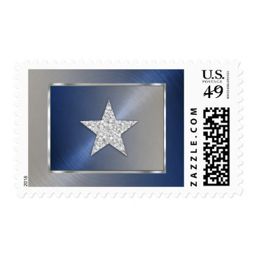 Professional Business Blue and Silver Star Postage