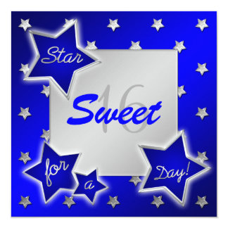 Blue and Silver Stars Sweet 16 Invitation