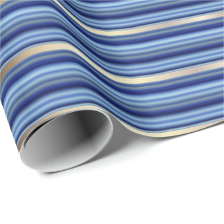 Blue and Silver Stripes Wrapping Paper