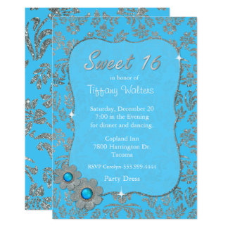 Blue and Silver Sweet 16 Birthday Invitation