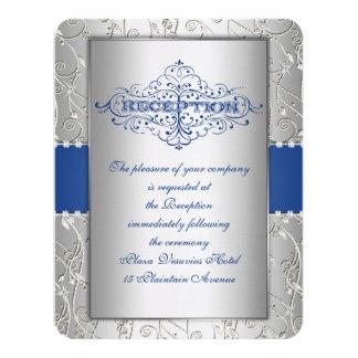 Blue and Silver Swirl Wedding Reception Card Custom Invite