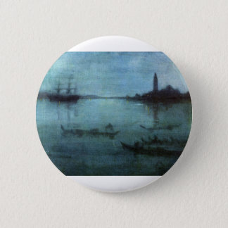 Blue and Silver The Lagoon Venice Pinback Button