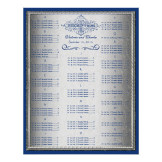 Blue and Silver Wedding Guest Seating Chart Poster