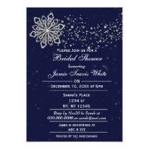 Blue and Silver Winter Bridal shower invite