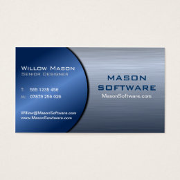 Blue and Steel Folded Technology Business Card 2