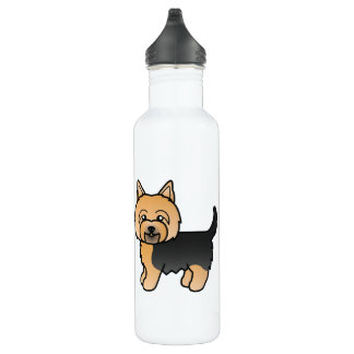 Blue And Tan Color Yorkshire Terrier Dogs Water Bottle