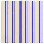 [ Thumbnail: Blue and Tan Colored Lines Fabric ]