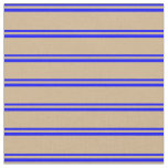 [ Thumbnail: Blue and Tan Colored Lines Pattern Fabric ]