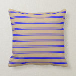 [ Thumbnail: Blue and Tan Colored Lines Pattern Throw Pillow ]