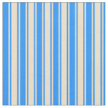 [ Thumbnail: Blue and Tan Colored Lines/Stripes Pattern Fabric ]