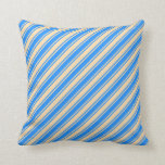 [ Thumbnail: Blue and Tan Colored Lines/Stripes Pattern Pillow ]