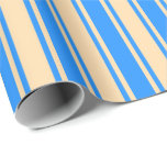 [ Thumbnail: Blue and Tan Colored Lines/Stripes Pattern Wrapping Paper ]